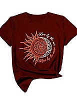 cheap -live by the sun love by the moon graphic t-shirts women sun and moon printed short sleeve casual tee tops (s, red)