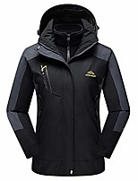 cheap -women's water repellent ski fleece jacket 3-in-1 mountain windproof fleece warm coat black