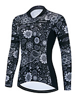 cheap -Women's Long Sleeve Cycling Jersey Winter Black / White Floral Botanical Bike Top Mountain Bike MTB Road Bike Cycling Breathable Quick Dry Sports Clothing Apparel / Stretchy / Athletic