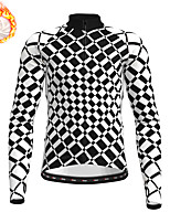 cheap -21Grams Men's Long Sleeve Cycling Jersey Winter Fleece Polyester Black / White Bike Jersey Top Mountain Bike MTB Road Bike Cycling Fleece Lining Warm Quick Dry Sports Clothing Apparel / Stretchy