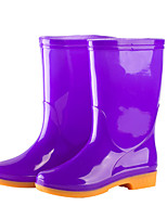 cheap -Women's Boots Chunky Heel Round Toe Classic Daily PVC Solid Colored Purple Red Blue