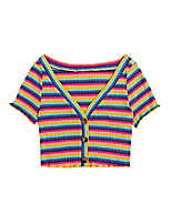 cheap -women's casual colorblock striped short sleeve button front rib knit crop tee top multicolor x-large red
