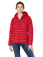 cheap -women's fashion lightweight long-sleeve full-zip water-resistant packable hooded puffer jacket, red, small