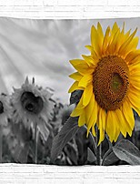 cheap -sunflower tapestry grey wall hanging, floral plant wall decor [double-folded hems] farmhouse countryside rustic wall decor for bedroom, dorm, college, living room, 60x82.7 grey