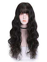 cheap -Synthetic Wig Curly With Bangs Wig Long Dark Brown Brown Pink Black Orange Synthetic Hair 26 inch Women's Classic Cool Fluffy Pink Orange