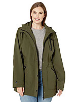 cheap -women's anorak jacket with hood and wing collar, forest, xl
