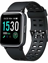 cheap -smart watch for android, smartwatch with heart rate monitor waterproof swimming fitness tracker, step counter, sleep monitor, calorie counter smart watches for men, women, kids, black