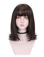 cheap -Synthetic Wig Curly With Bangs Wig Medium Length Light Brown Brown Grey Black Synthetic Hair 16 inch Women's Highlighted / Balayage Hair Comfy Fluffy Brown Gray