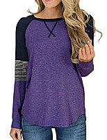 cheap -women round neck long sleeve shirt color block casual blouse purple