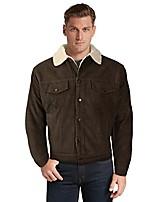 cheap -men's classic button up fur lined corduroy sherpa trucker jacket (medium, dark brown)