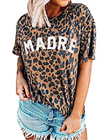 cheap -womens madre leopard print t-shirts short sleeve letter printed casual round neck tees tops (leopard, l)