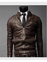cheap -2 colors men's slim fit pu faux leather zipper closure rider jacket outerwear black,large