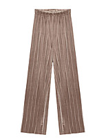 cheap -Women's Basic Streetwear Comfort Daily Going out Wide Leg Pants Pants Solid Colored Full Length Black Blushing Pink Khaki