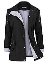 cheap -rain jacket women windbreaker striped climbing raincoats waterproof lightweight outdoor hooded trench coats short black m