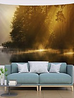 cheap -Wall Tapestry Art Deco Blanket Curtain Picnic Table Cloth Hanging Home Bedroom Living Room Dormitory Decoration Polyester Fiber Landscape Forest Lake Morning Light