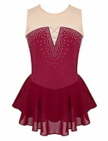cheap -kids girls figure ice skating dress sleeveless ballet dance leotard tumbling competition mesh splice skirts burgundy 8