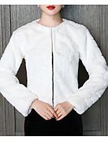 cheap -Long Sleeve Coats / Jackets Faux Fur Party / Evening Women's Wrap With Fur
