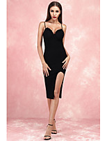 cheap -Sheath / Column Little Black Dress Sexy Party Wear Cocktail Party Dress Spaghetti Strap Sleeveless Knee Length Spandex with Split 2020
