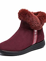 cheap -solacozy suede winter boots for women, warm fur lining snow boots ankle booties flat anti-slip side zipper winter shoes outdoor winter sneakers red