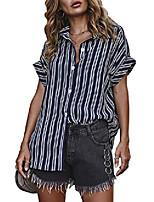 cheap -women's v neck short sleeve striped blouse loose button down shirt tops blue 4/6