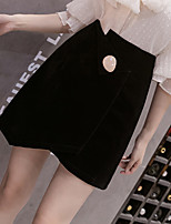 cheap -Women's Basic Streetwear Comfort Daily Going out Shorts Pants Solid Colored Short Patchwork Black