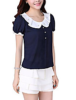 cheap -women's peter pan collar short sleeve chiffon t-shirt blouse tops (blue, x-small)