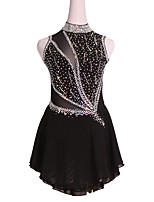 cheap -Figure Skating Dress Women's Girls' Ice Skating Dress Black Backless Spandex High Elasticity Competition Skating Wear Handmade Solid Color Crystal / Rhinestone Sleeveless Ice Skating Figure Skating