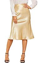 cheap -women's high waist zipper glitter fish tail flared skirt gold l
