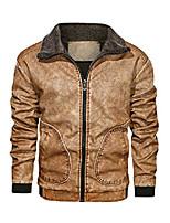 cheap -men's brown lapel thick warm pu faux leather zip-up jacket
