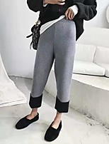 cheap -Women's Basic Streetwear Comfort Daily Going out Pants Chinos Pants Solid Colored Ankle-Length Black Gray