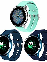 cheap -3-pack compatible with samsung galaxy watch active bands / active 2 bands / galaxy watch 3 bands 41mm, 20mm soft waterproof silicone sport strap replacement wristbands