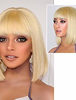 cheap -blonde straight hair bob wig pure color middle part with bangs synthetic full wigs for women (blonde)