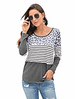 cheap -women's t shirt long sleeves striped stitching leopard print tee shirt round neck cotton causal tops (grey, m)