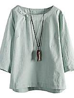 cheap -women's summer linen shirts 3/4 sleeve chinese frog button tops blouse green