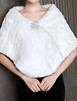 cheap -Short Sleeve Coats / Jackets Faux Fur Party / Evening Women's Wrap With Fur