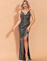 cheap -Sheath / Column Sexy bodycon Prom Formal Evening Dress V Neck Sleeveless Floor Length Sequined with Sequin Split 2020
