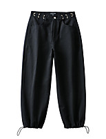 cheap -Women's Sporty Basic Comfort Daily Going out Jogger Sweatpants Pants Solid Colored Full Length Pocket Black Khaki
