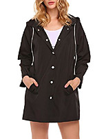 cheap -womens quick dry drawstring hood button windbreaker wind coat black m