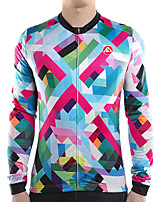 cheap -21Grams Men's Long Sleeve Cycling Jersey Winter Fleece Polyester Blue Geometic Bike Jersey Top Mountain Bike MTB Road Bike Cycling Thermal Warm Fleece Lining Breathable Sports Clothing Apparel