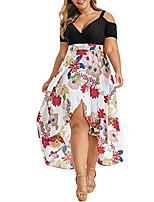 cheap -Women's Swing Dress Knee Length Dress - Short Sleeve Floral Backless Patchwork Print Fall V Neck Sexy Going out Loose 2020 Black Red XL XXL 3XL 4XL 5XL