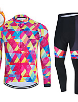 cheap -WECYCLE Men's Women's Long Sleeve Cycling Jersey with Bib Tights Cycling Jersey with Tights Winter Fleece Polyester Pink Black / White Pink / Black Geometic Bike Clothing Suit Fleece Lining / Warm