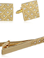 cheap -stacy adams men's gold cuff link & tie bar w/crystals set, one size