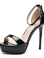 cheap -Women's Heels Stiletto Heel Open Toe Sexy Daily Walking Shoes PU Buckle Solid Colored Almond Black