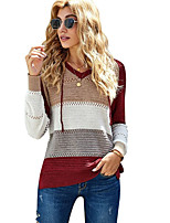 cheap -Women's Hooded Color Block Pullover Acrylic Fibers Long Sleeve Sweater Cardigans V Neck Winter Wine Khaki Gray