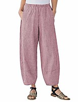 cheap -women's casual loose plus size elastic waist cotton trouser cropped wide leg pants (xxxl, b-red)
