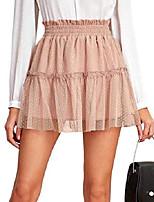 cheap -women's lace dot ruffle hem elastic high waist a line skater mini skirt pink large