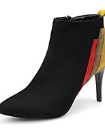 cheap -Women's Boots Stiletto Heel Pointed Toe Daily Walking Shoes Nubuck Color Block Winter Black / Booties / Ankle Boots
