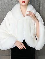 cheap -Long Sleeve Capes Orlon Wedding Bolero With Fur