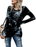 cheap -women's long sleeve twist knotted tie dye shirts black large