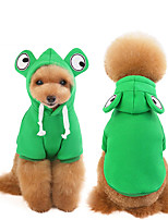 cheap -Dog Coat Hooded Shirts Tracksuit Frog Thick Velvet Casual / Daily Dog Clothes Puppy Clothes Dog Outfits Warm Green Costume for Girl and Boy Dog Fleece S M L XL XXL